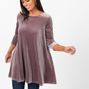 NWT Agnes and Dora Velvet Swing Tunic Orchid Large